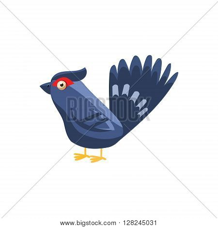 Black Grouse Simplified Cute Illustration In Childish Flat Vector Design Isolated On White Background