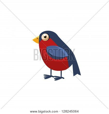 Bullfinch Simplified Cute Illustration In Childish Flat Vector Design Isolated On White Background