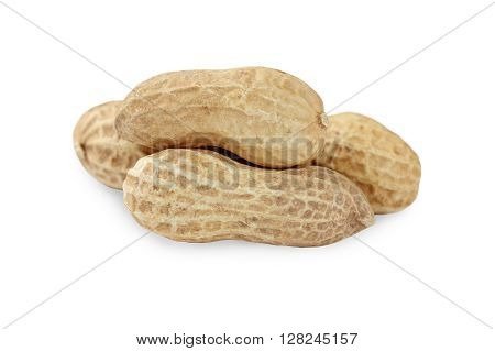 Peanut closeup on a white background. The crude peanuts.