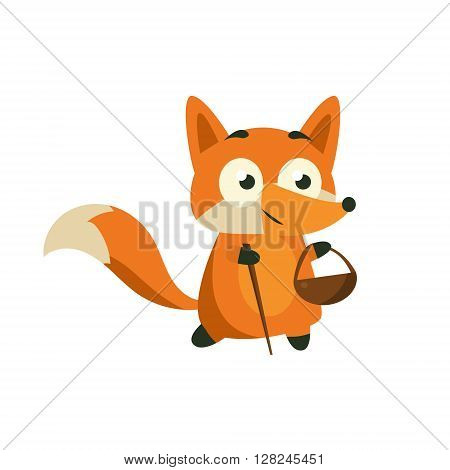 Fox Picking Berries And Mushrooms Adorable Cartoon Style Flat Vector Illustration Isolated On White Background