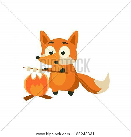 Fox Cooking Marshmellows Adorable Cartoon Style Flat Vector Illustration Isolated On White Background