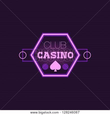 Hexahedron Casino Purple Neon Sign Las Vegas Style Illumination Bright Color Vector Design Sticker