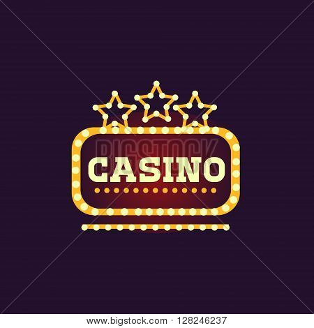 Yellow Casino Square Neon Sign Las Vegas Style Illumination Bright Color Vector Design Sticker