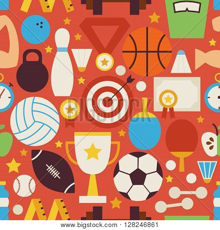 Sport Recreation And Competition Vector Flat Red Seamless Pattern