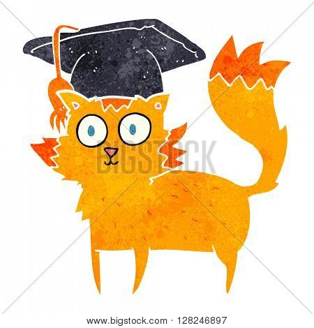 freehand retro cartoon cat graduate