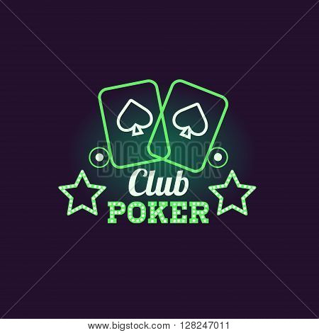 Green Poker Club Neon Sign Las Vegas Style Illumination Bright Color Vector Design Sticker