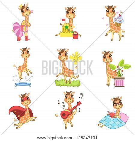 Cute Giraffe Cartoon Collection Of Outlined Illustrations In Cute Girly Cartoon Style Isolated On White Background