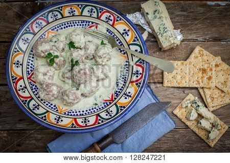 Beef meat ball with danish blue cheese