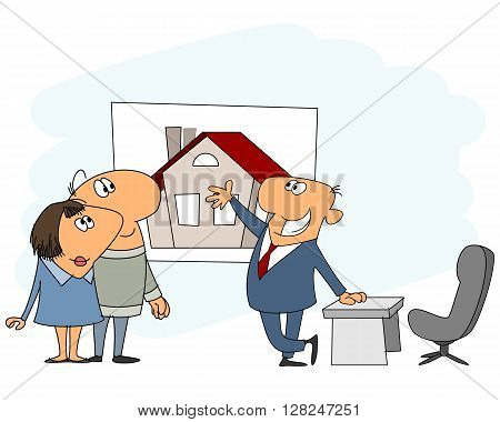 Vector illustration of a real estate agent