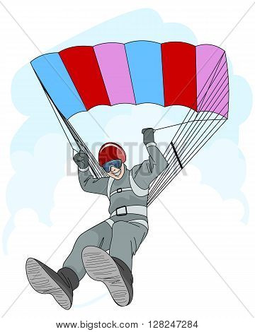 Vector illustration of a man jumping with parachute