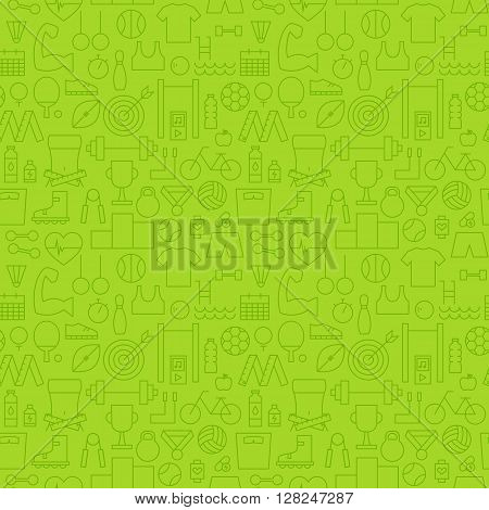 Thin Line Sport Activity Exercise Seamless Green Pattern