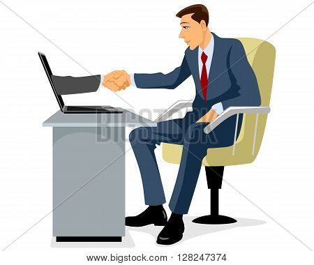 Vector illustration of a businessman shaking hand