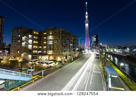 Light trail on street at night in Tokyo city