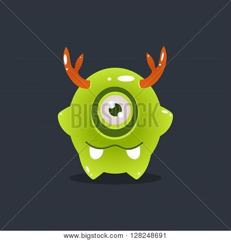 Green Alien With Antlers Cute Childish Flat Vector Bright Color Drawing Isolated On Dark Background