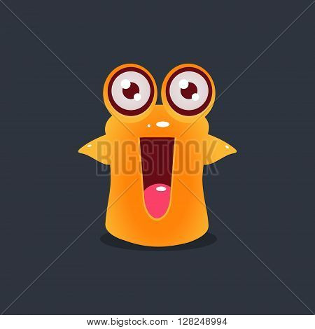 Excited Yellow Alien Cute Childish Flat Vector Bright Color Drawing Isolated On Dark Background