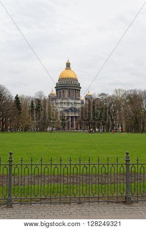 St. Isaac's Cathedral And Square With A Green Lawn