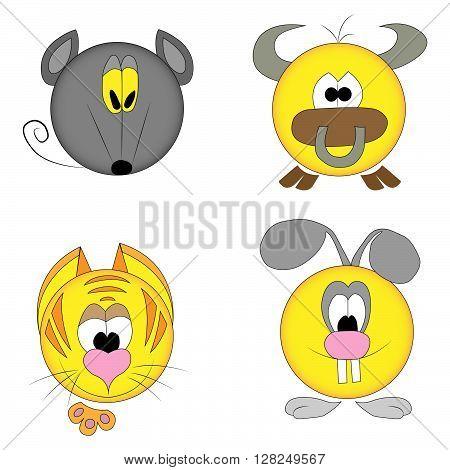 Chinese years zodiac smiles. Rat. Bull. Tiger. Rabbit.