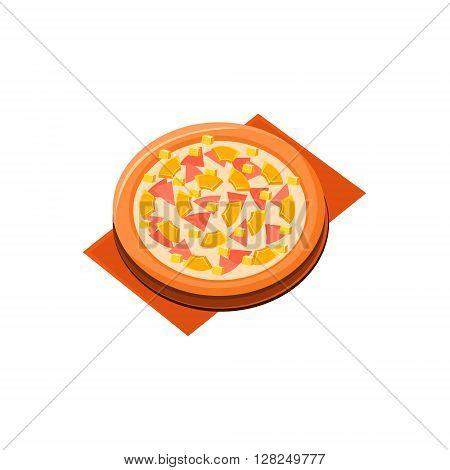Pineapple Ham Pizza Flat Isolated Primitive Cartoon Style Illustration On White Background