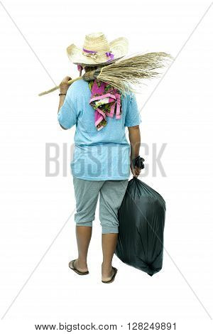Back view of woman holding a black garbage bag with a sweeper in white background