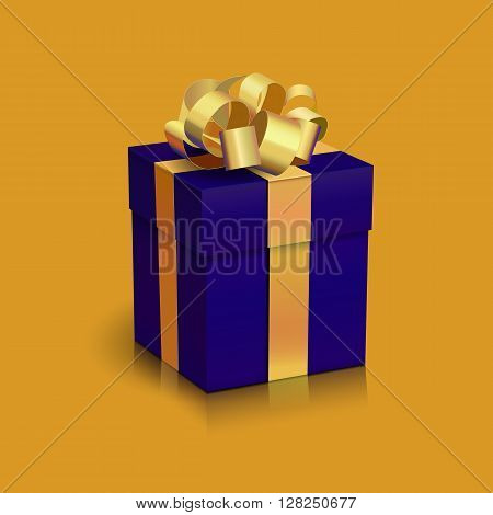 Vector Realistic Dark Blue Gift Box with Gold Ribbon and Bow. Digital Illustration for Holiday Design.