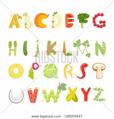 Food alphabet made of vegetables and fruits. Vegetables font. Healthy food vegetables letter. Fruit vector letter. Lettering with vegetables and fruits. Vector font illustration. Vegetables letter