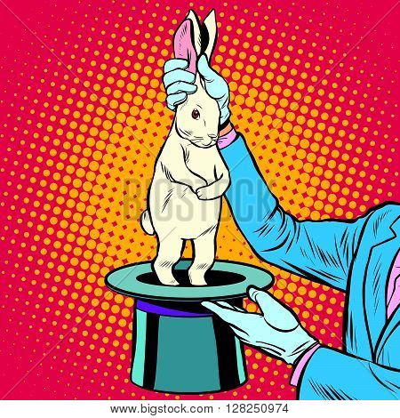 white rabbit in the magicians hands pop art retro style. Circus arts. Circus animals