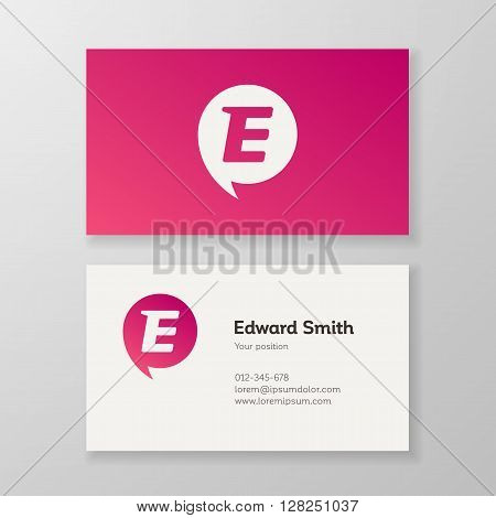 Modern letter E in speech bubble Business card template. Vector visiting card design. Layered editable.