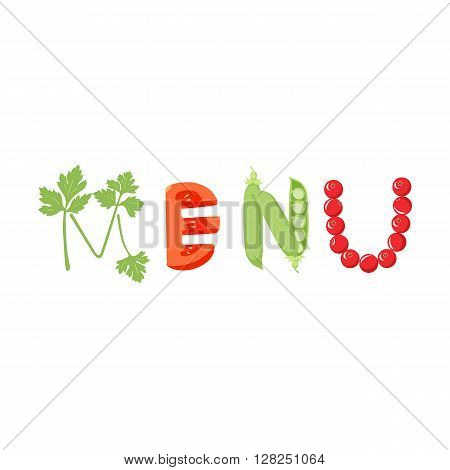 Menu food vegetables letter. Healthy food vector letter. In lettering with vegetables isolated on white background. Menu vector illustration. Menu vegetables font. Menu food letter.