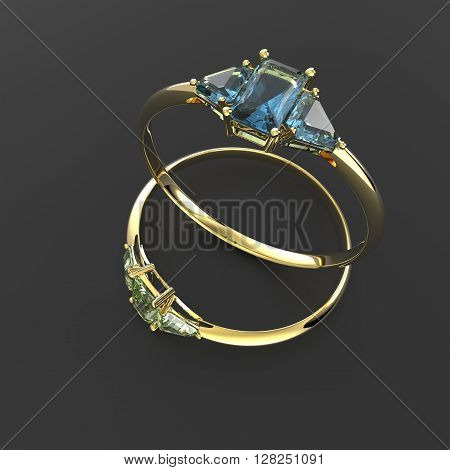 Diamond Rings. Fashion jewelry. 3d digitally rendered illustration