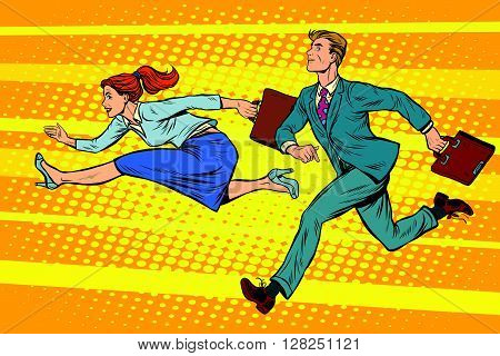 Businessman and businesswoman running competition pop art retro style