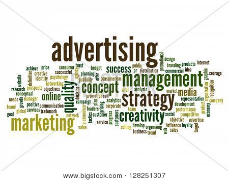 High resolution concept or conceptual abstract advertising word cloud or wordcloud isolated on white background