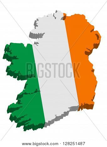 A map of Ireland 3D with flag