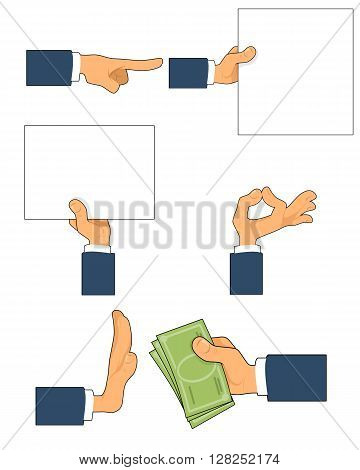 Vector illustration of a six gestures set