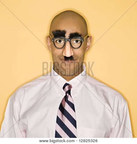 African American man wearing groucho mask disguise.