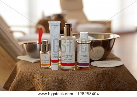 ZAGREB, CROATIA - APRIL 21th, 2016: Dr Hauschka hand cream with few other Dr. Hauschka products is presented in Zagreb, product shot