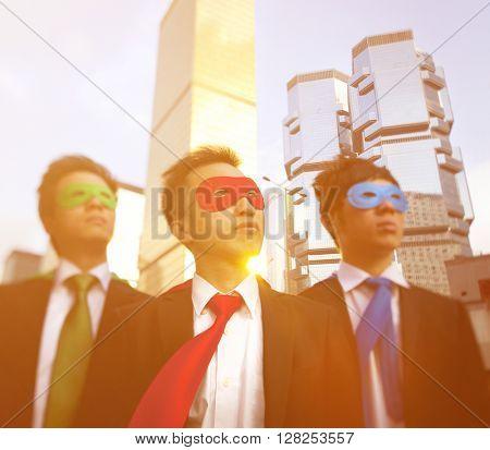 Asian Business Superheros Hong Kong Concept