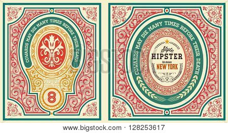 Baroque cards set with ornaments and floral details, Layered vector
