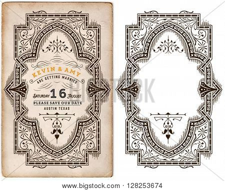 Wedding invitation vintage template with elements separated by layers