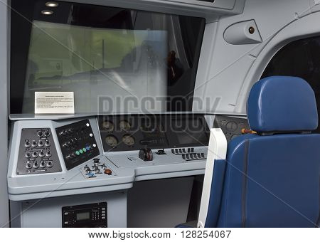 ROSTOV-ON-DON RUSSIA- APRIL 28 -The simulator driver electric locomotive EP1M at the exhibition center