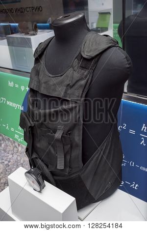 ROSTOV-ON-DON RUSSIA- APRIL 28 - The bulletproof vest of nanostructured ceramics at the exhibition center
