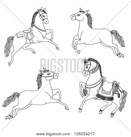Running Horse Vector On A White Background. Outline Drawing Horses. Arabian Horses In Native Costume. Indian Totem Tattoo Design. Hand Drawn Picture. Running Horse Tattoo. Hand Drawn Horse Sketch.