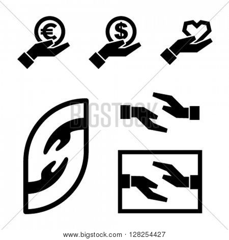 human hand icon black simple symbol vector
