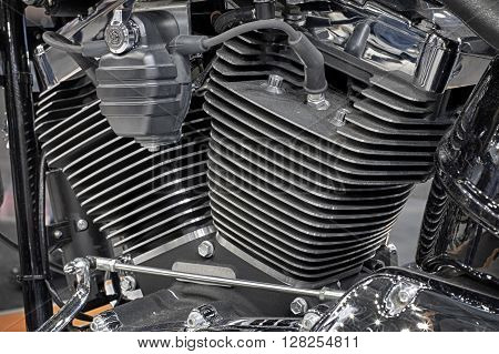 Detail Of Air Cooled Engine Of Motorcycle.