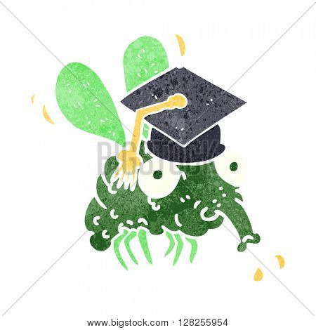 freehand retro cartoon fly graduate