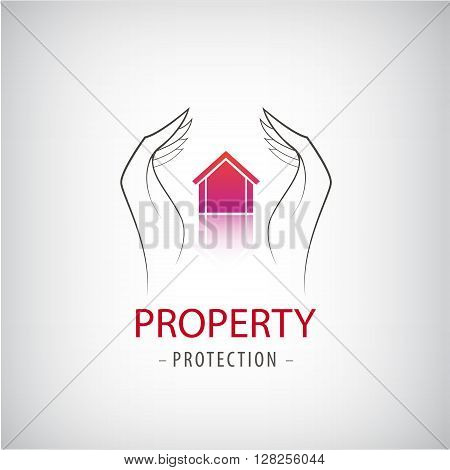 Home security business symbol. Unique icon concept for insurance company or guard company. Vector property protection logo, house guard, security logo. Hands holding house illustration
