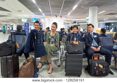 FRANKFURT, GERMANY - APRIL 07, 2016: crew memebers of Singapore Airlines A380. Frankfurt Airport is a major international airport located in Frankfurt and the major hub for Lufthansa