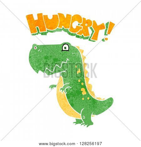 freehand retro cartoon hungry dinosaur