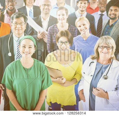 Large Group of Diverse People with Different Occupations Concept