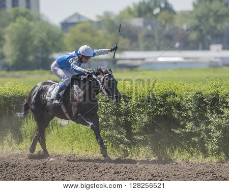 ROSTOV-ON-DON; RUSSIA- MAY 02- Horseman rides on the racetrack on the opening day on May 02 2016 in Rostov-on-Don