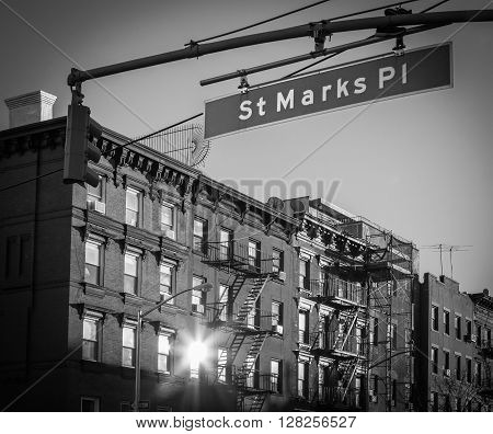 St. Marks Place Street Sign in Manhattan New York City in Black and White